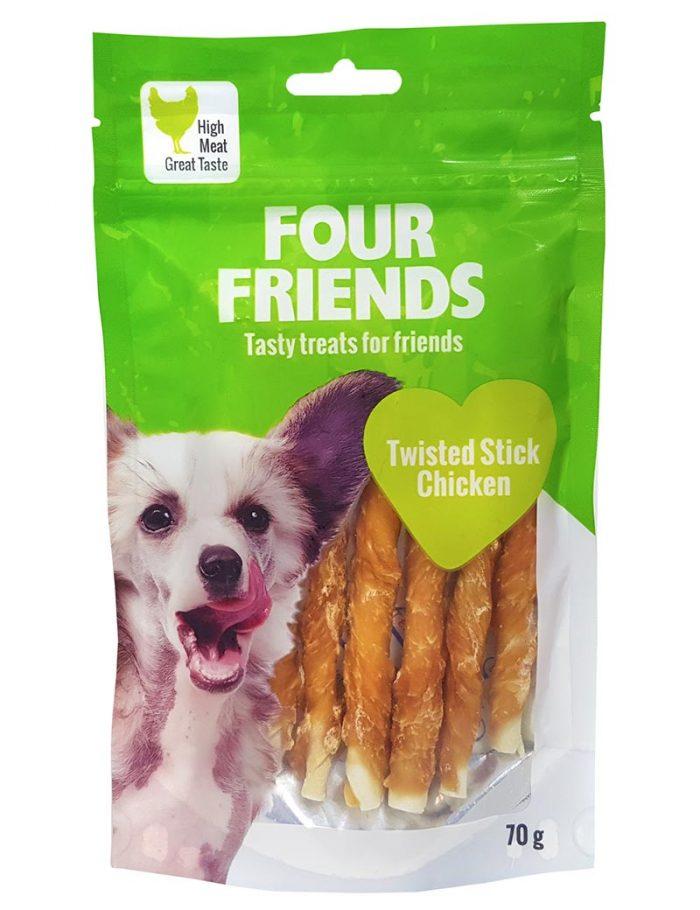 Four Friends Treats, Twisted Stick Chicken 70 g. Skruvad tuggpinne med kycklingkött till hundar.