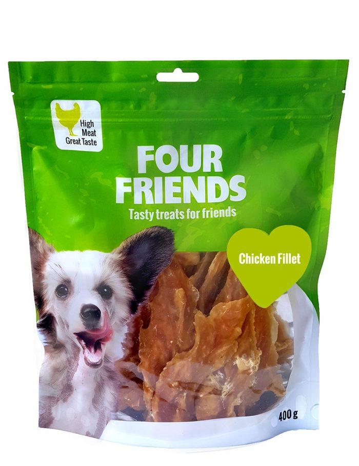 Four Friends Treats, Chicken Fillet 400 g. Remsa med kycklingkött som belöningsgodis eller träningsgodis till hundar.
