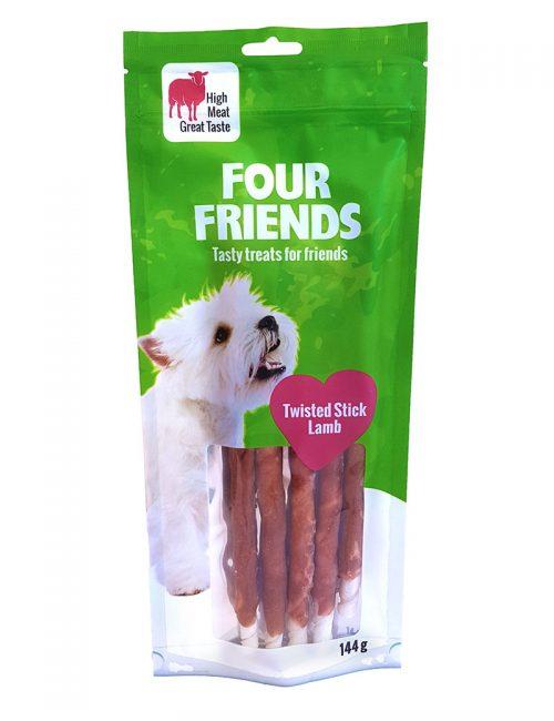 Four Friends Treats, Twisted Lamb Stick 25 cm 144 g. Skruvat tuggben med lammkött som belöningsgodis eller träningsgodis till hundar.