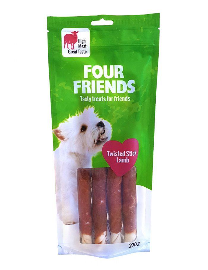 Four Friends Treats, Twisted Lamb Stick 25 cm 270 g. Skruvat tuggben med lammkött som belöningsgodis eller träningsgodis till hundar.