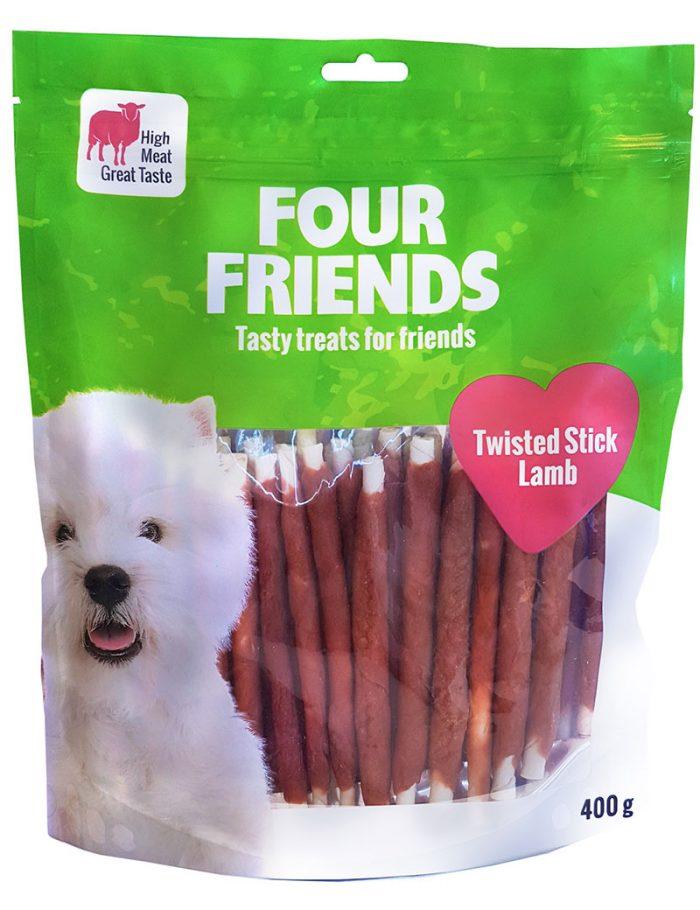 Four Friends Treats, Twisted Lamb Stick 400 g. Skruvat tuggben med lammkött som belöningsgodis eller träningsgodis till hundar.