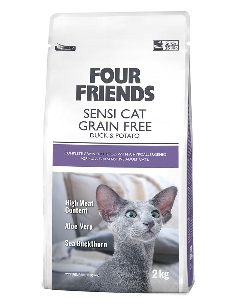 Four Friends Sensi Cat Grain Free 2 kg. Spannmålsfritt hypoallergent torrfoder av anka och potatis, anpassat för känsliga katter.