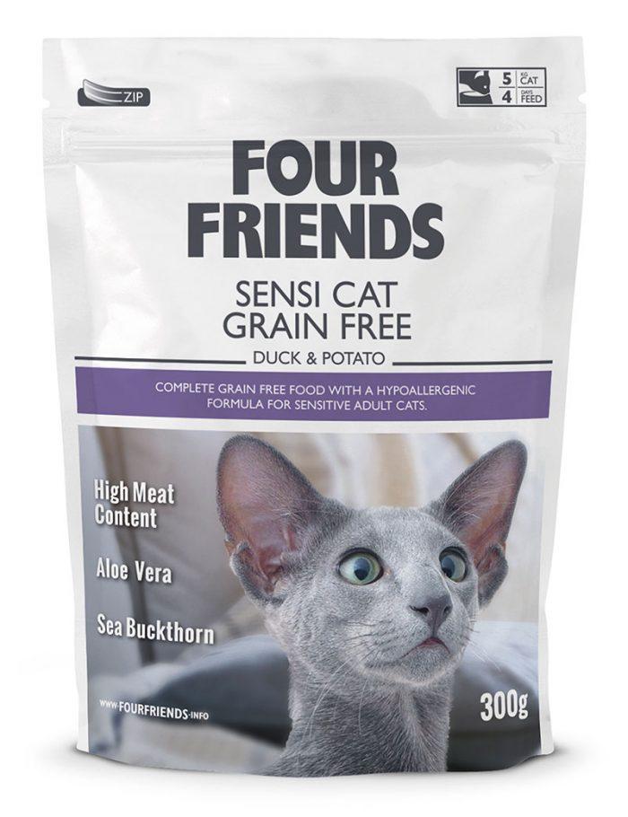 Four Friends Sensi Cat Grain Free 300 g. Spannmålsfritt hypoallergent torrfoder av anka och potatis, anpassat för känsliga katter.