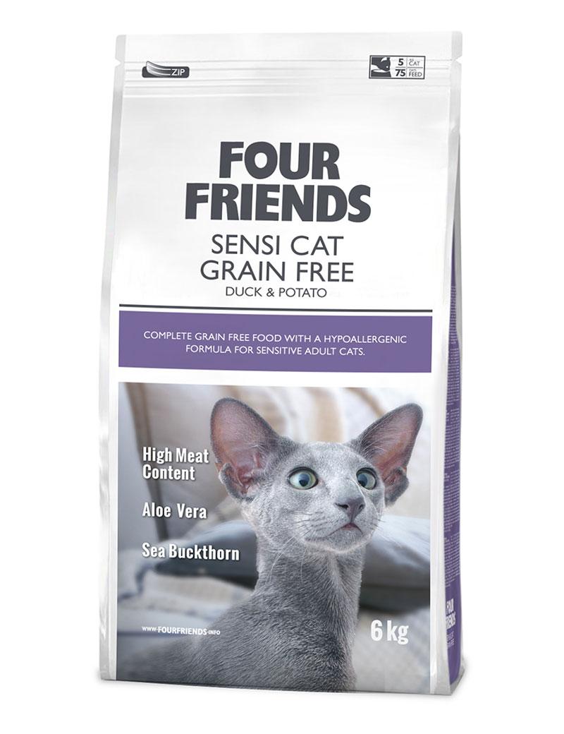 Four Friends Sensi Cat Grain Free 6 kg. Spannmålsfritt hypoallergent torrfoder av anka och potatis, anpassat för känsliga katter.