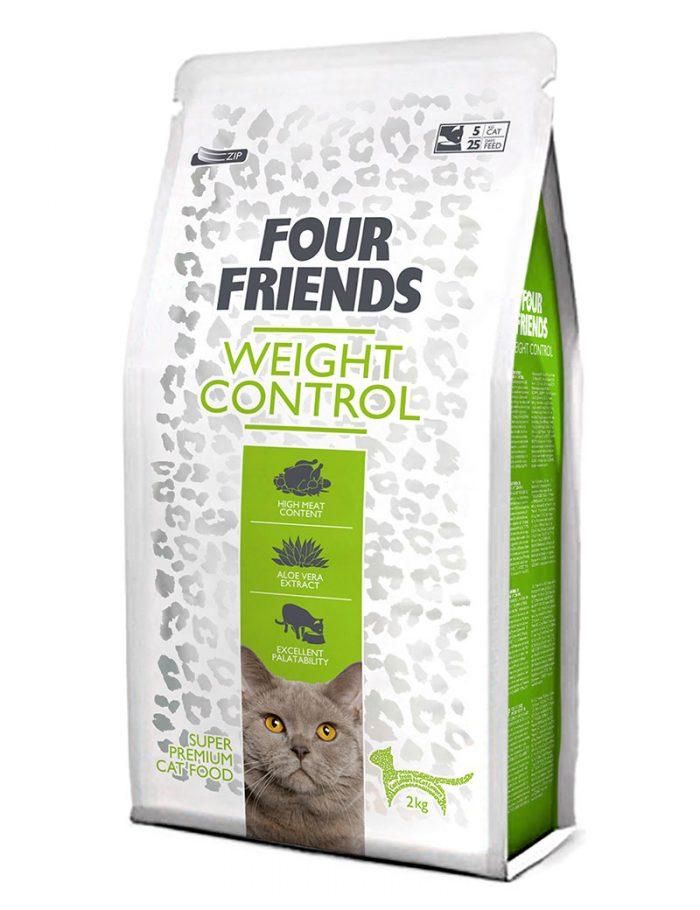Four Friends Weight Control 2 kg. Glutenfritt torrfoder anpassat för överviktiga katter.