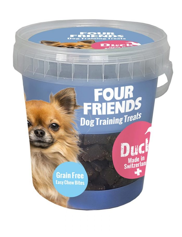 Four Friends Dog Training Treats 400 g. Spannmålsfritt träningsgodis och naturgodis med ankkött, för hundar.