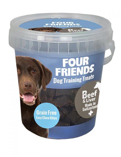 Four Friends Dog Training Treats 400 g. Spannmålsfritt träningsgodis och naturgodis med biff och lever, för hundar.