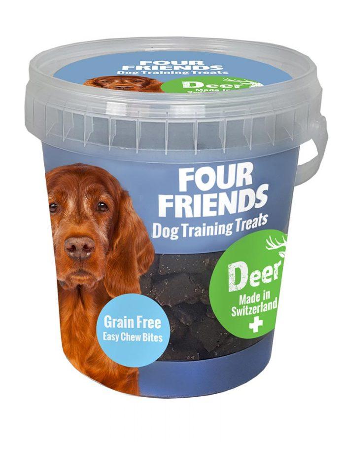 Four Friends Dog Training Treats 400 g. Spannmålsfritt träningsgodis och naturgodis med kött av hjort, för hundar.