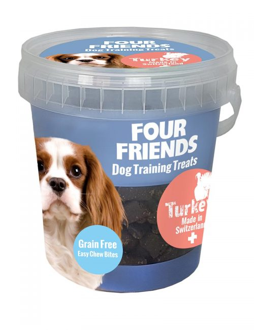 Four Friends Dog Training Treats 400 g. Spannmålsfritt träningsgodis och naturgodis med kalkon, för hundar.