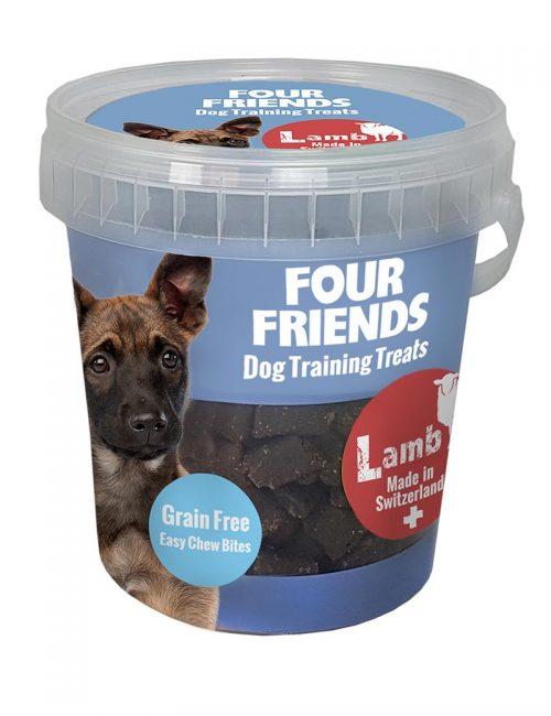 Four Friends Dog Training Treats 400 g. Spannmålsfritt träningsgodis och naturgodis med lamm, för hundar.