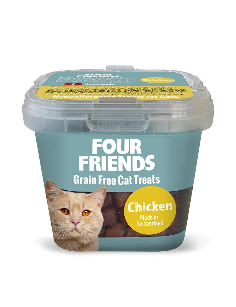 Four Friends Grain Free Cat Treats 100 g. Spannmålsfritt kattgodis av kyckling.