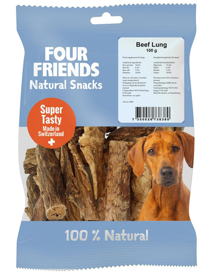 Four Friends Natural Snacks, Beef Lung 100 g. 100% naturligt hundsnacks utav torkad kolunga.