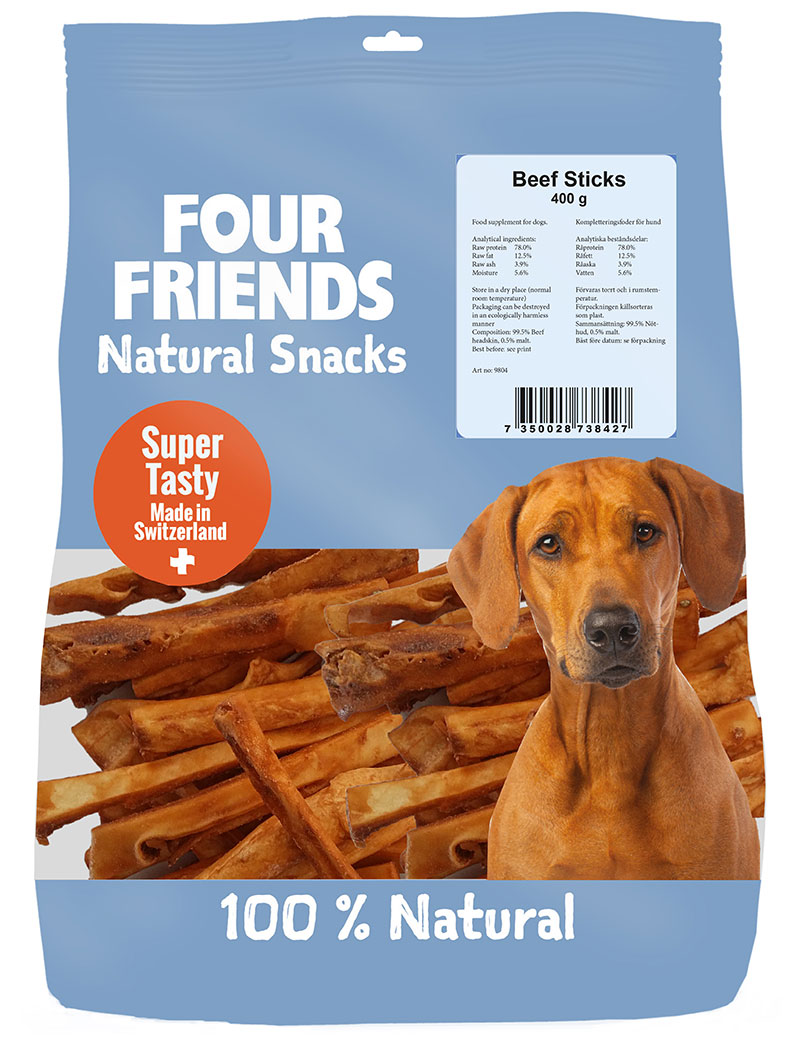 Four Friends Natural Snacks, Beef Sticks 400 g. 100% naturliga tuggpinnar utav torkad kohud.