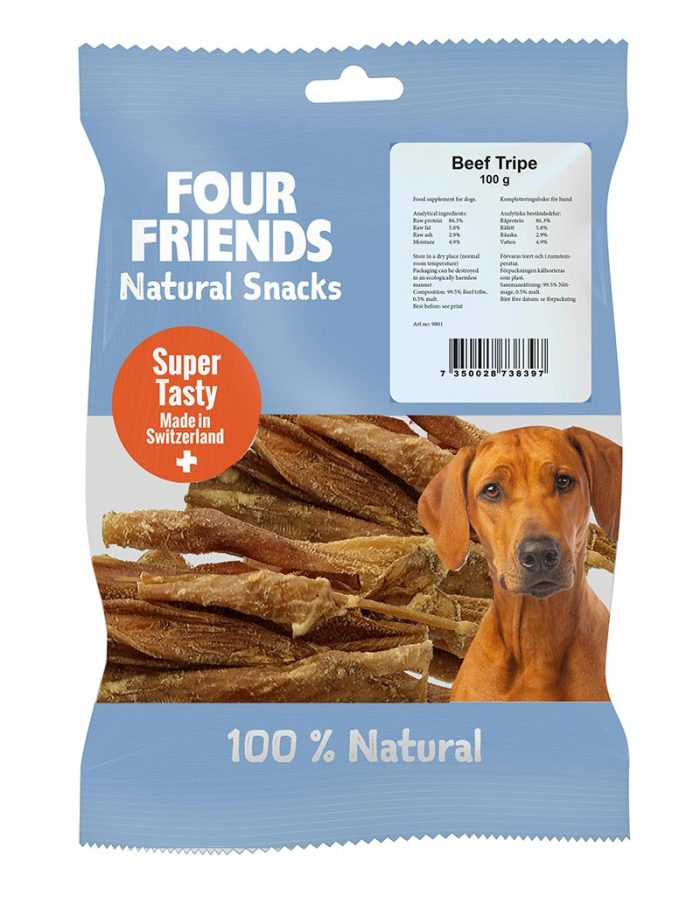 Four Friends Natural Snacks, Beef Tripe 100 g. 100% naturligt tuggodis utav torkad komage.