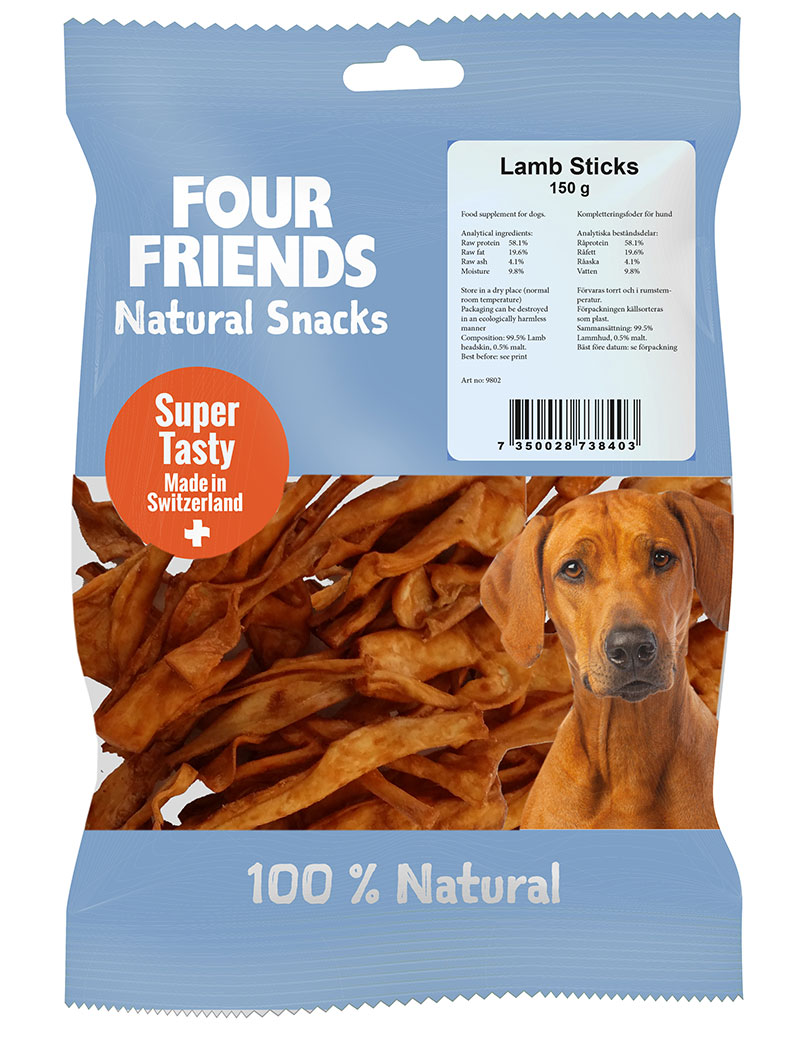 Four Friends Natural Snacks, Lamb Sticks 150 g. 100% naturligt tuggodis till hund utav torkad lammhud.
