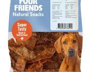 Four Friends Natural Snacks, Ostrich Stripes 150 g. 100% naturligt tuggodis till hund utav torkad strutsmage.