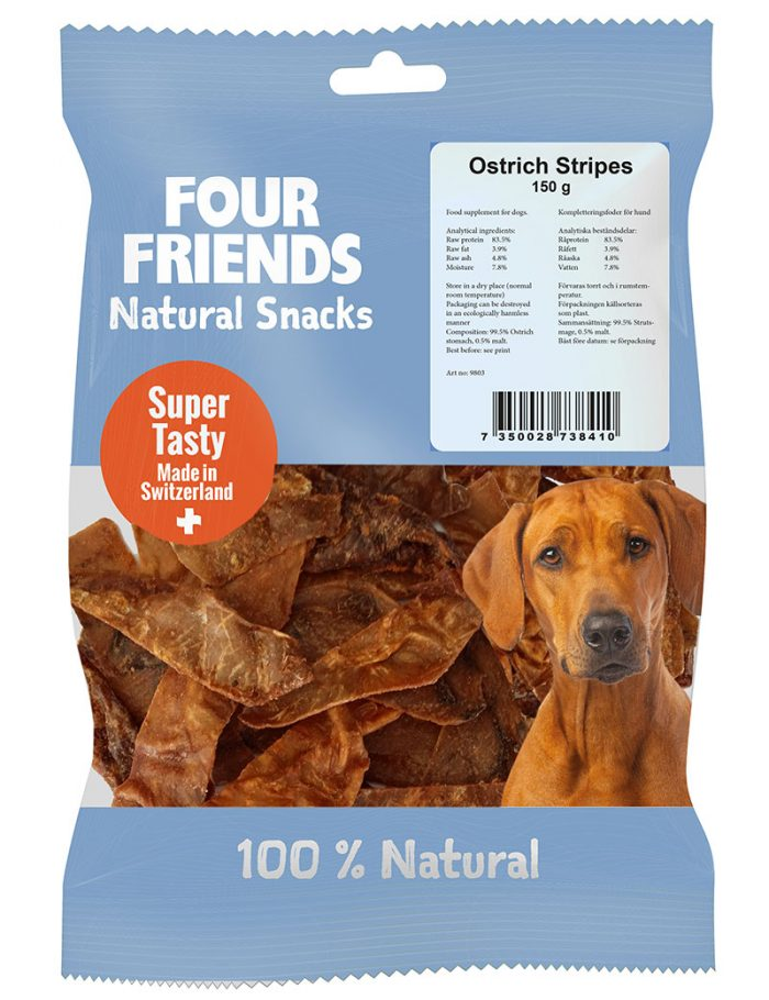 Four Friends Natural Snacks, Ostrich Stripes 150 g. 100% naturligt tuggodis till hund utav torkad strutsmage.