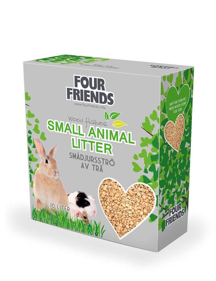 Four Friends smådjursströ utav trä, 10 liter. 100% miljövänligt och med bra uppsugningsförmåga.