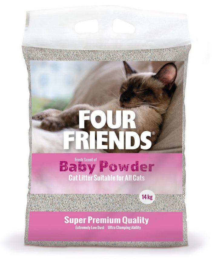 Four Friends kattsand med en doft av babypuder, 14 kg. Klumpbildande och dammar inte.