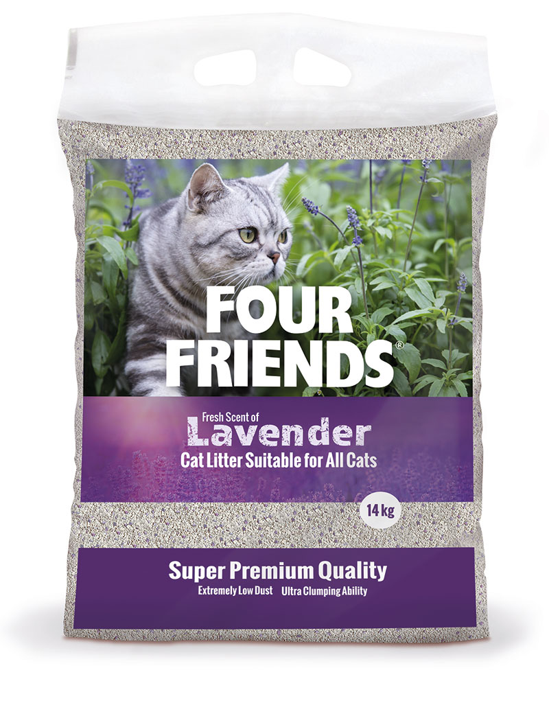 Four Friends kattsand med en doft av lavender, 14 kg. Klumpbildande och dammar inte.