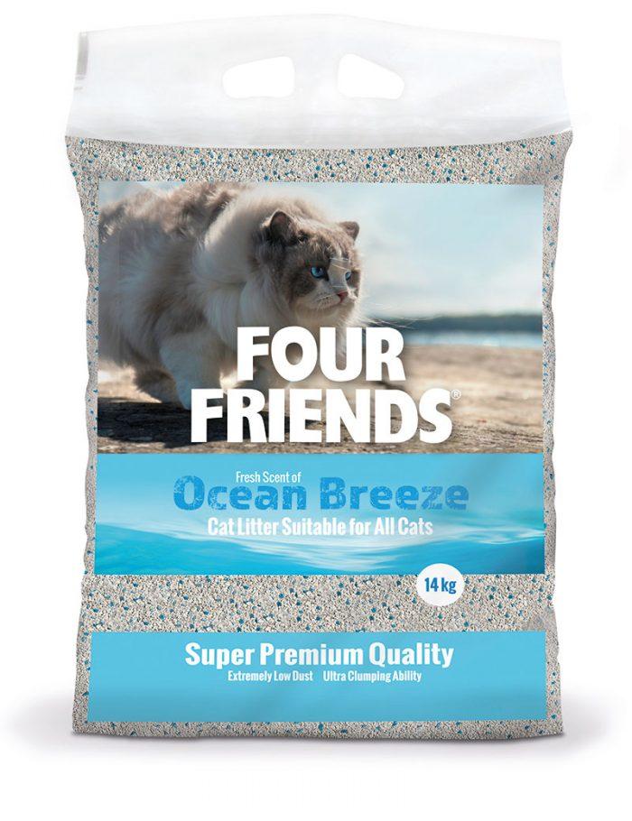 Four Friends kattsand med en doft av havsbris, 14 kg. Klumpbildande och dammar inte.