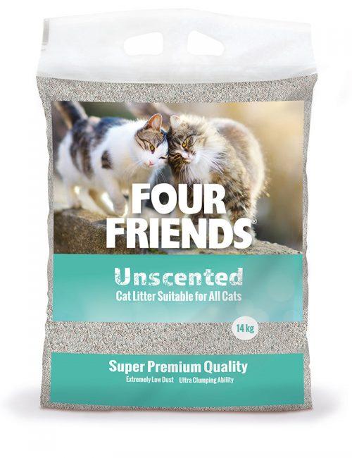 Four Friends kattsand utan doft, 14 kg. Klumpbildande och dammar inte.